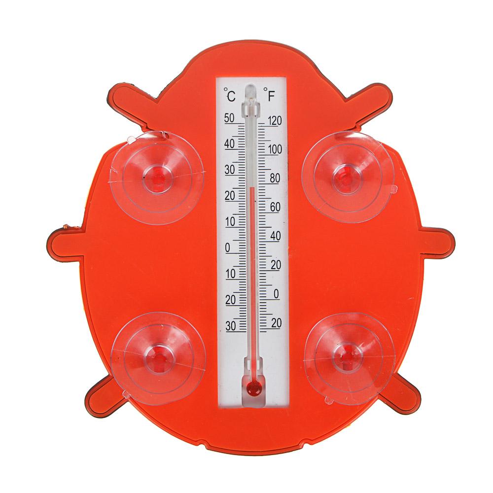 """INBLOOM Термометр оконный """"Божья коровка"""" 17x17см, для крепления на стекло, пластик, пакет"""
