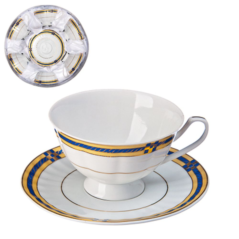 Классика Набор чайный 12пр., 250мл, с синей каемкой, тнк.фрф, подар.упак.