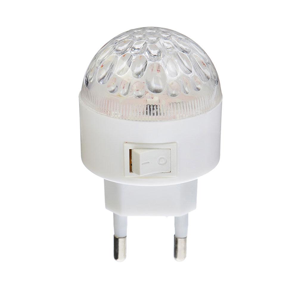 """Светильник-ночник 3 LED в розетку с выключателем, 0,5 Вт, пластик/металл, 4х7 см, """"Шарик"""""""