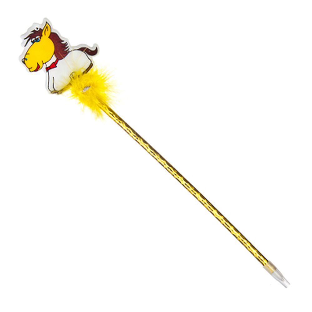 """Ручка """"Новогодняя лошадка"""", шариковая, с мягким украшением в блеске, 26см, в асс-те, ПВХ"""