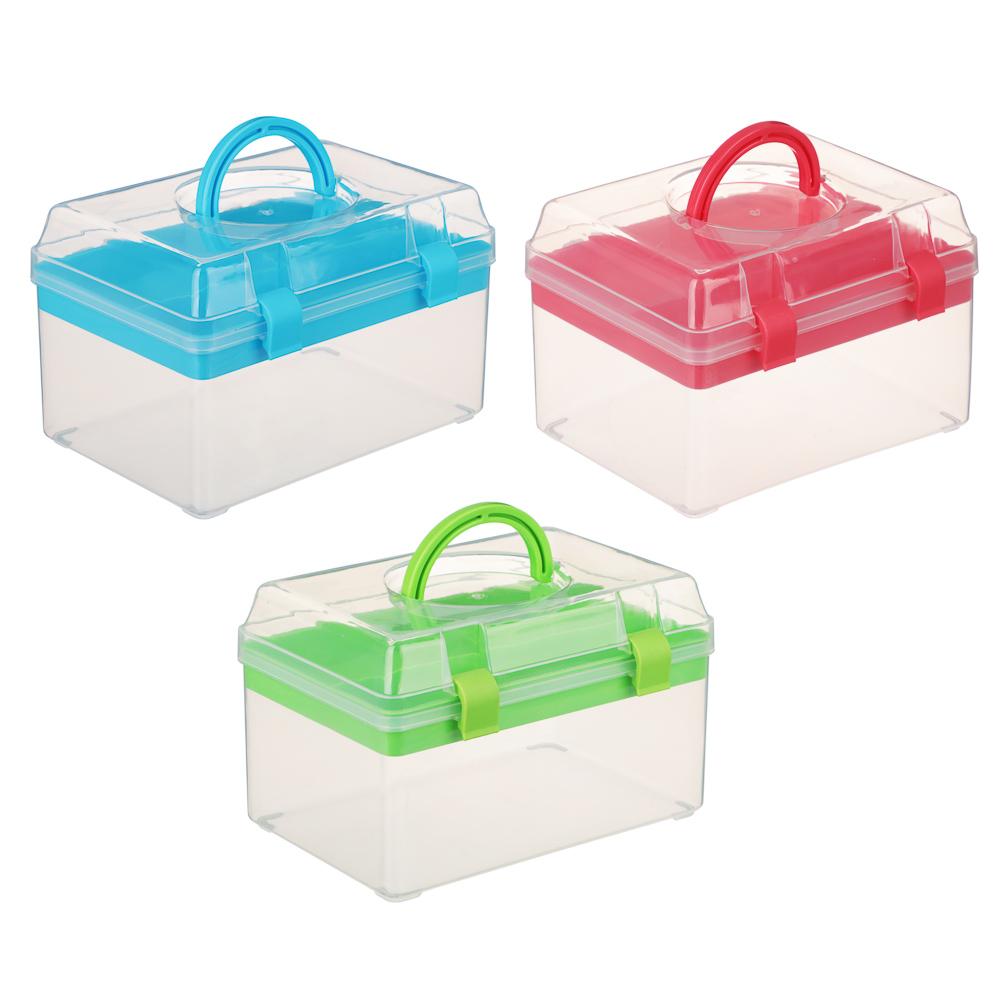 Бокс для мелочей, пластик, 17х11,5х11,5 см, 3 цвета