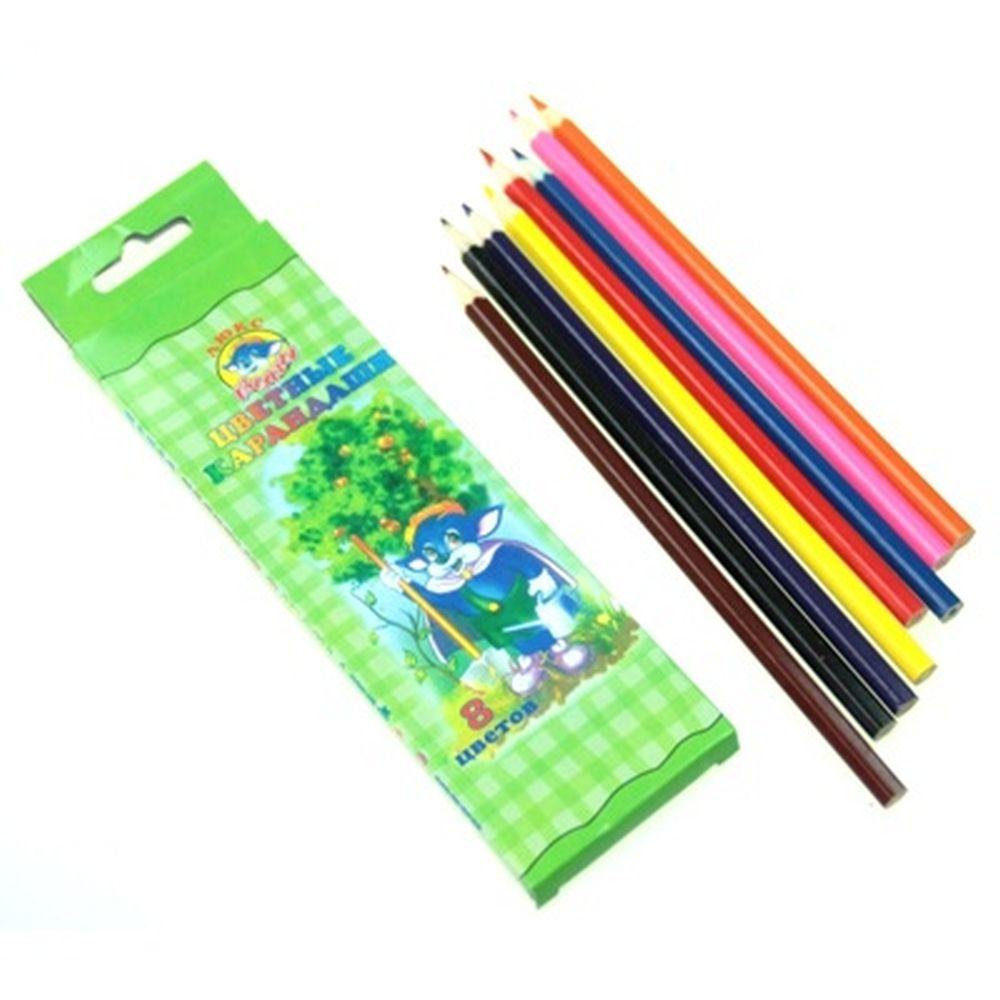 Набор цветных карандашей, 8 цветов, 20х6см, дерево