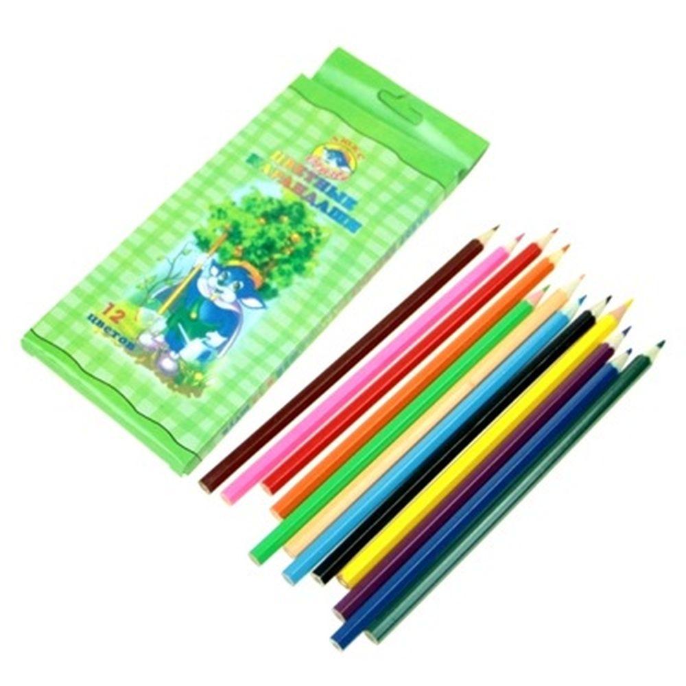Набор цветных карандашей 12 цветов, 20х9см, дерево