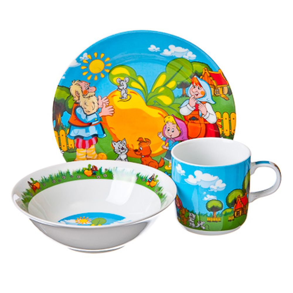 "Набор детский 3 пр. (тарелка 18см, суповая тарелка 13см, кружка 240мл), фрф, подар. уп., ""Репка"""
