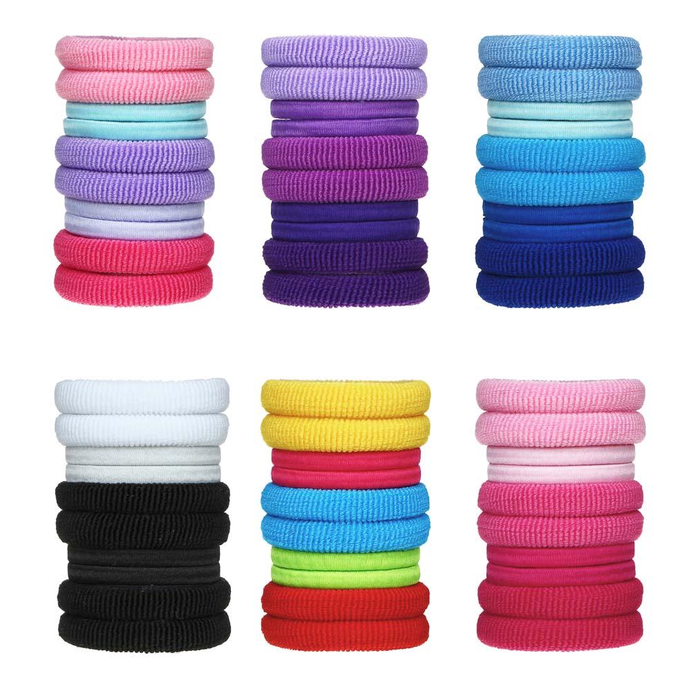 Набор резинок для волос в тубе 10шт., полиэстер, 4 см, 6 цветов