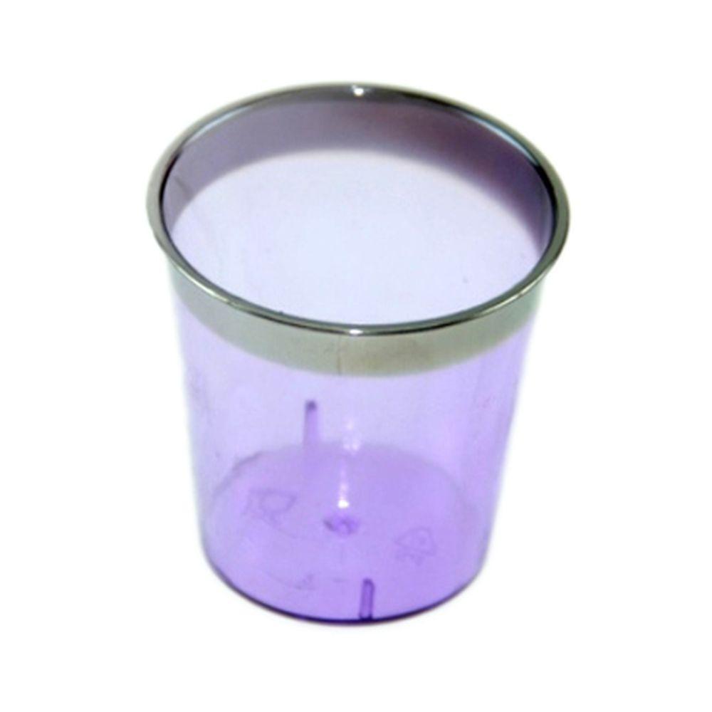 Набор пластиковых стопок с метал. каймой фиолетовые 30 шт