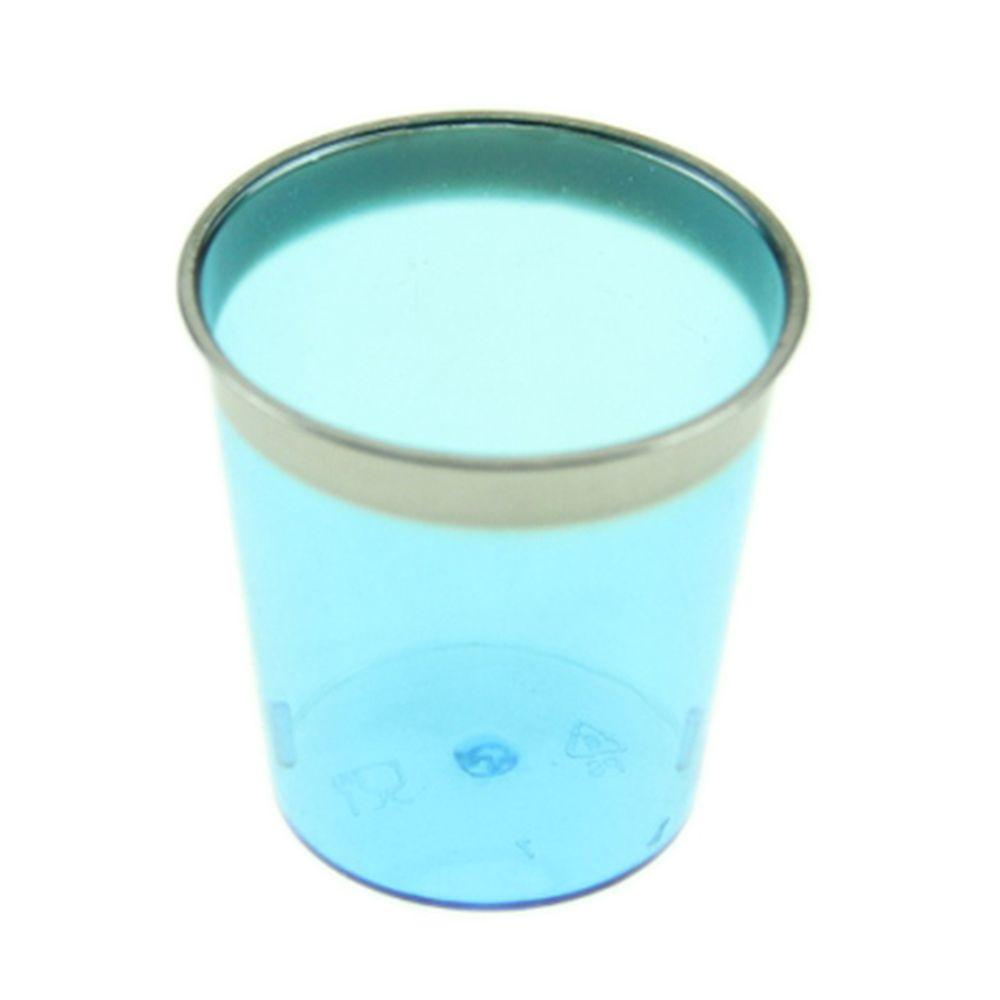 Набор пластиковых стопок с метал. каймой синие 30 шт