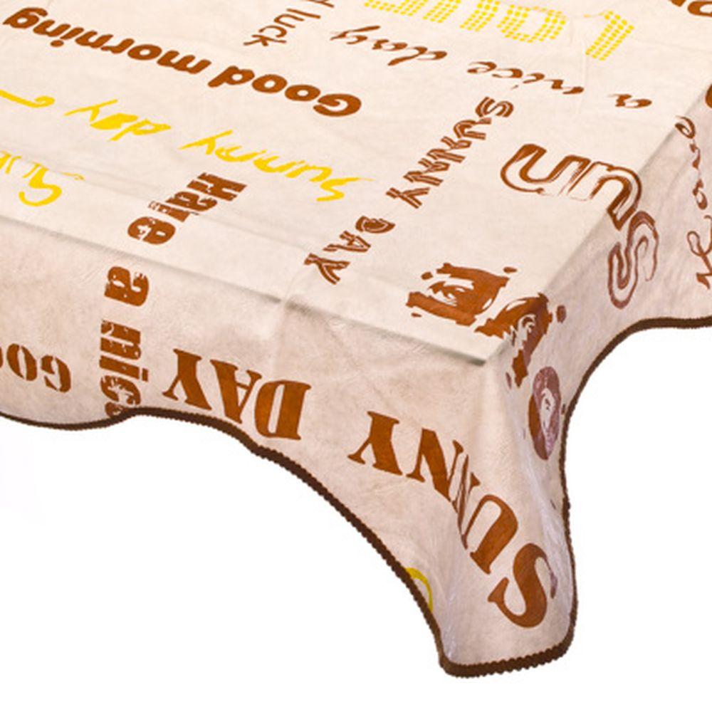 VETTA Скатерть виниловая на фланелевой основе с каймой, 120x152см, Word 0304-1, Дизайн GC