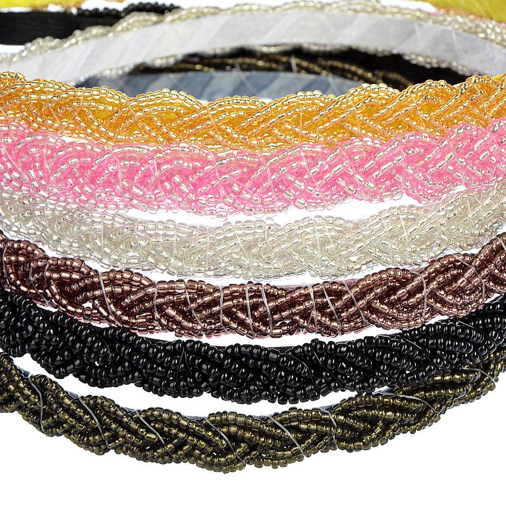 """Ободок для волос, пластик, металл, 0,7 см, 6 цветов, """"Бисерное плетение"""""""