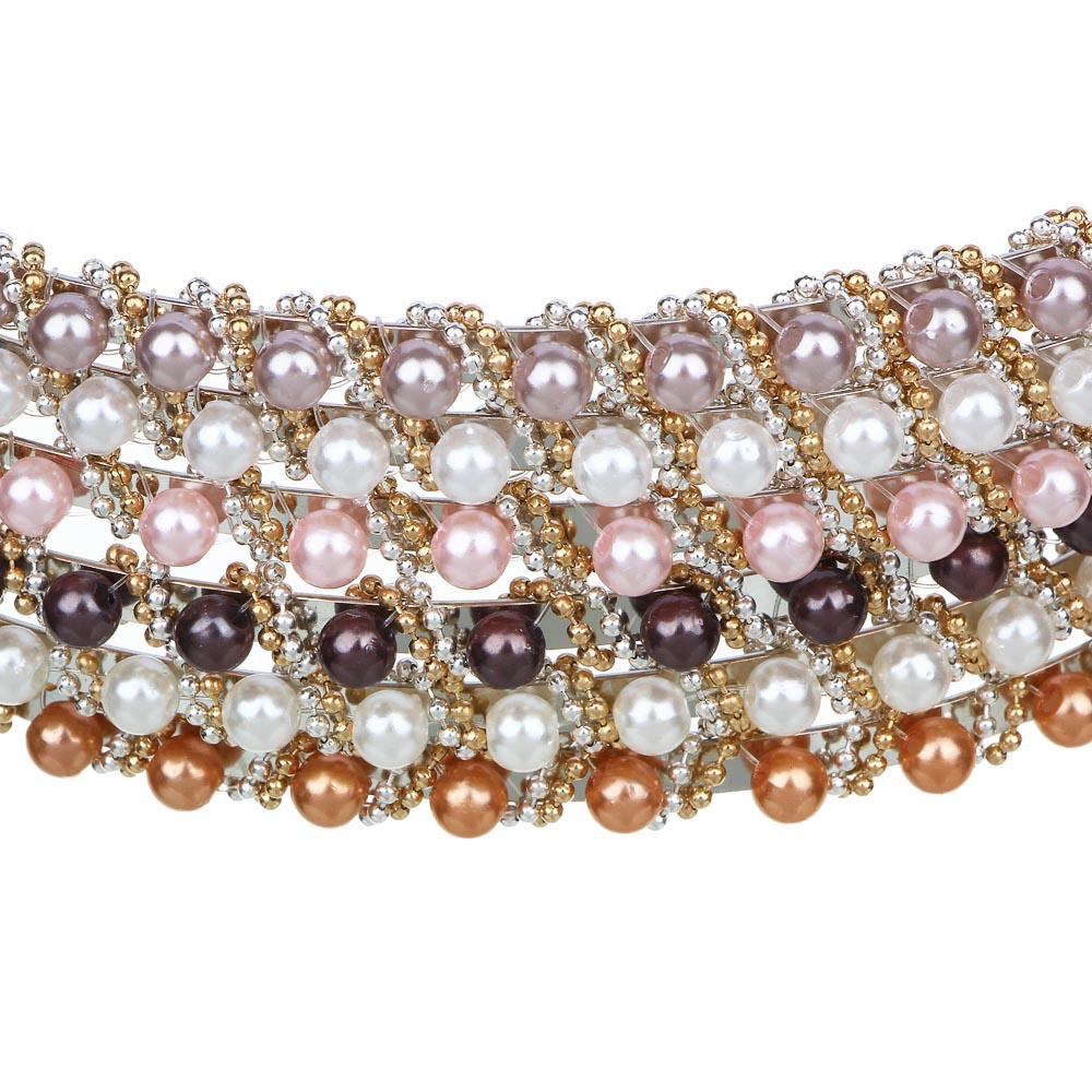 """Ободок для волос, пластик, металл, 0,5 см, 6 цветов, """"Бисерный узор"""""""