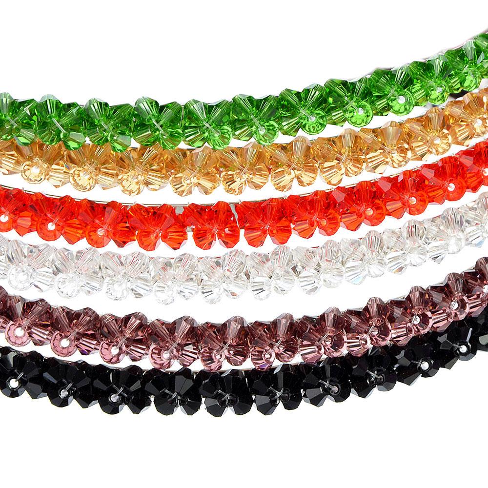 "Ободок для волос, пластик, металл, 0,5 см, 6 цветов, ""Кристаллы"""