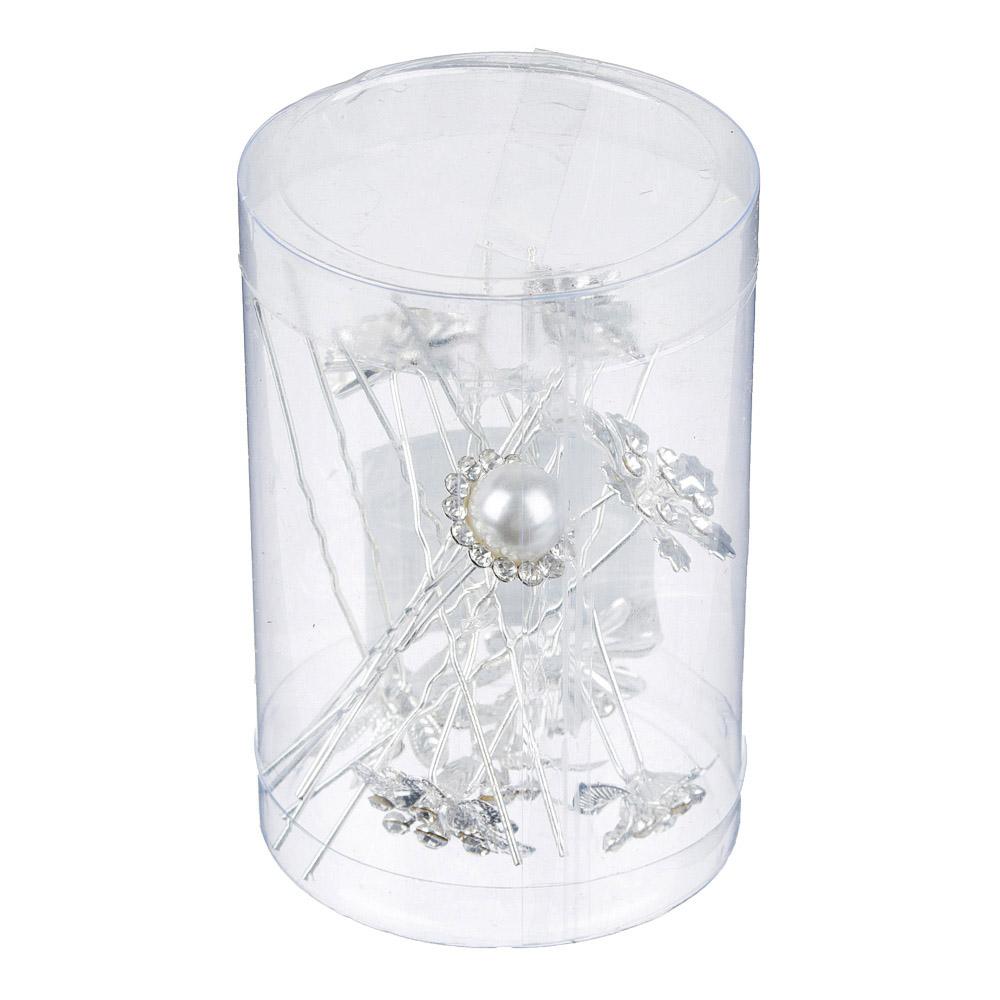 """Шпилька для волос, металл, стекло, 7 см, 10 дизайнов, """"Каменный цветок"""""""