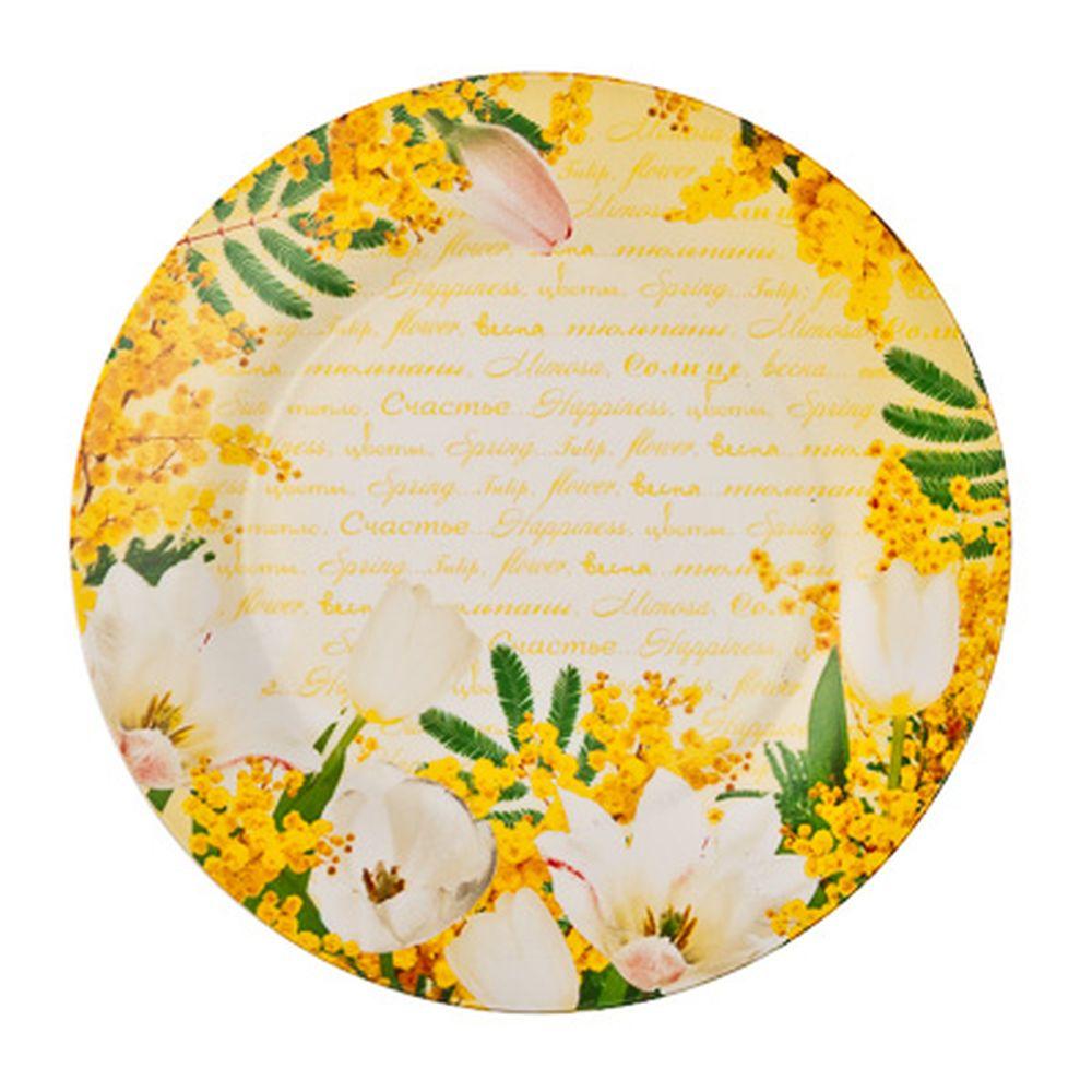 FARFALLE Блюдо для торта Белые тюльпаны, 25см, фрф, подар.упак