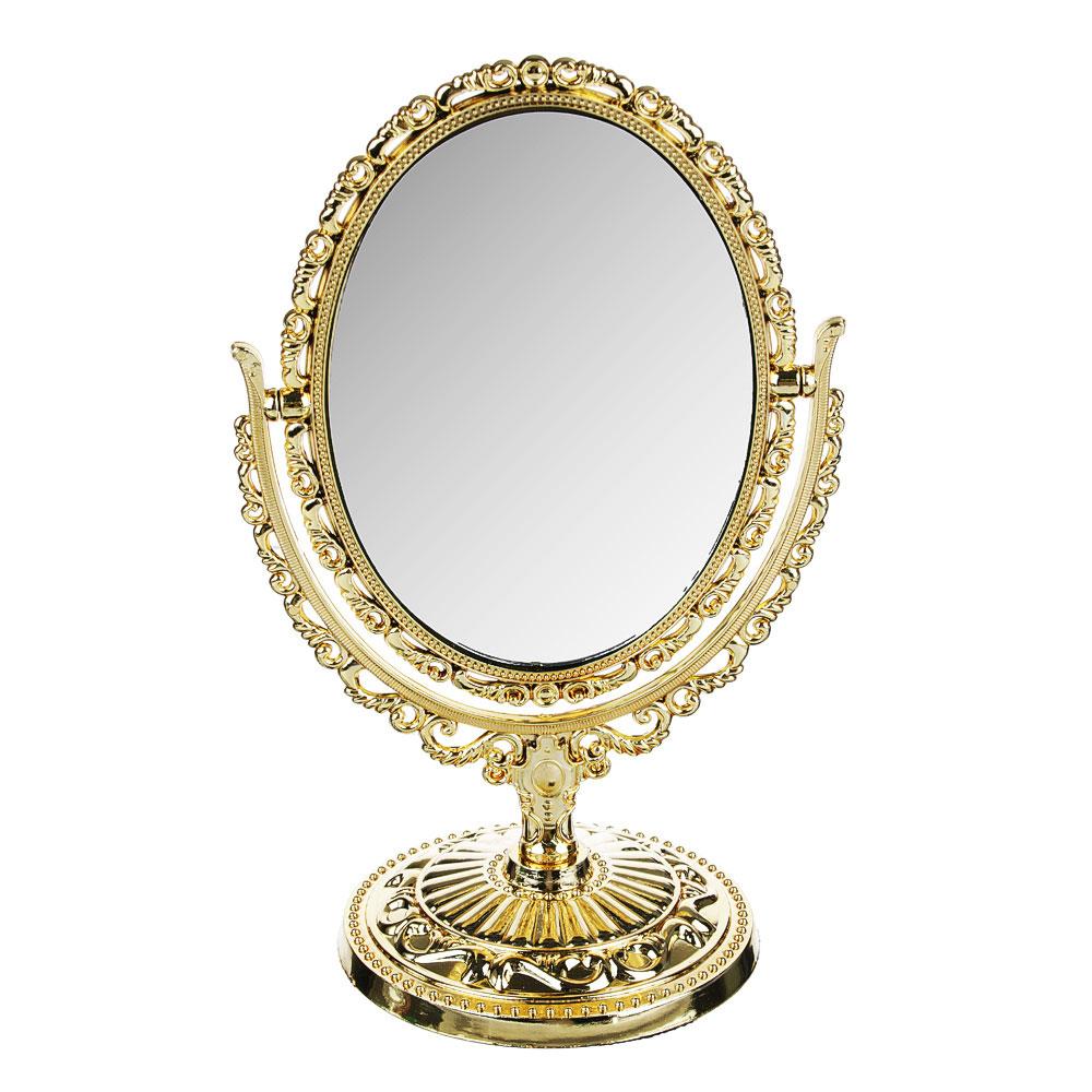 Зеркало настольное овальное, 20х12,5 см, пластик, стекло, 3-4 цвета