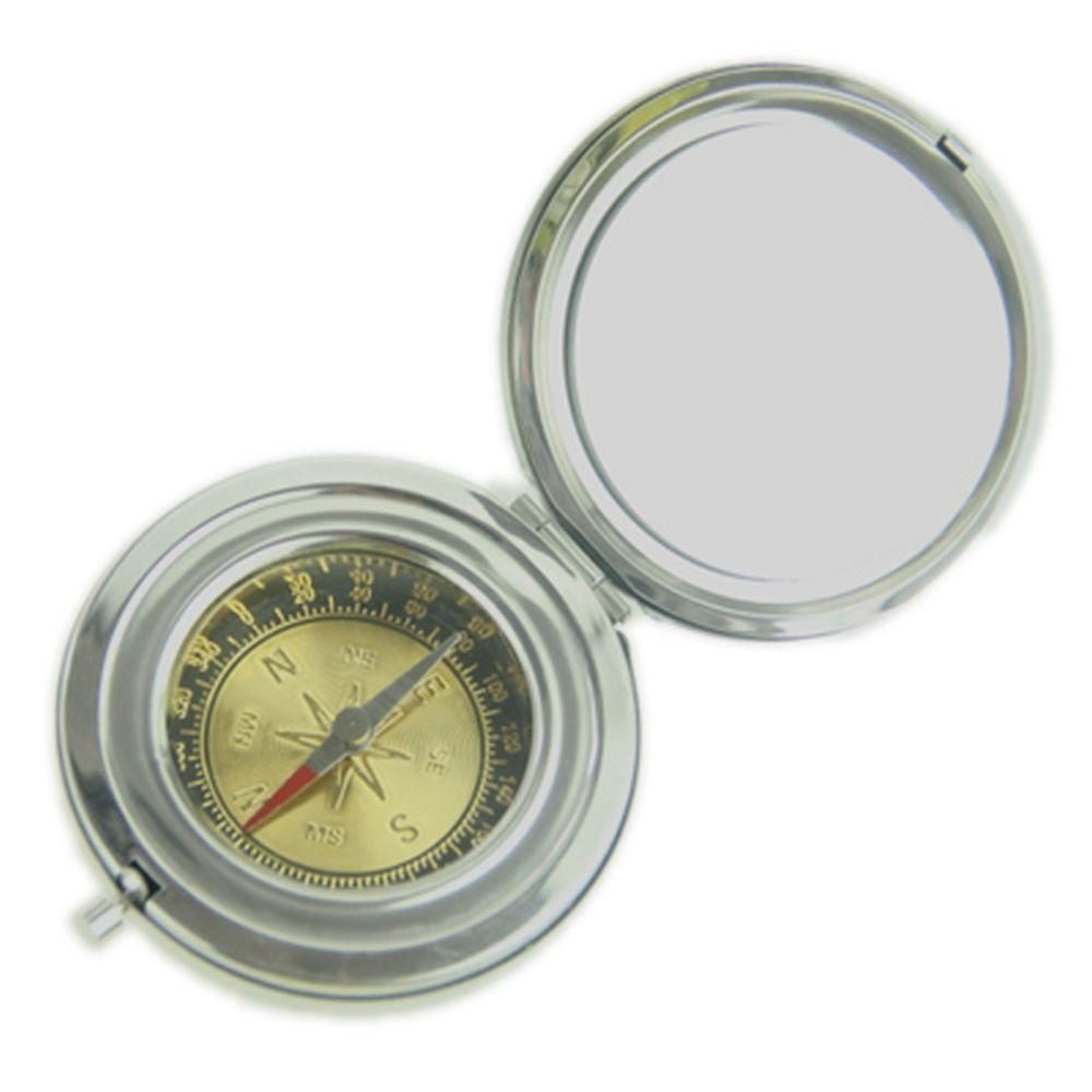 Компас с зеркалом, серебро, 6,5 см, металл/серебро