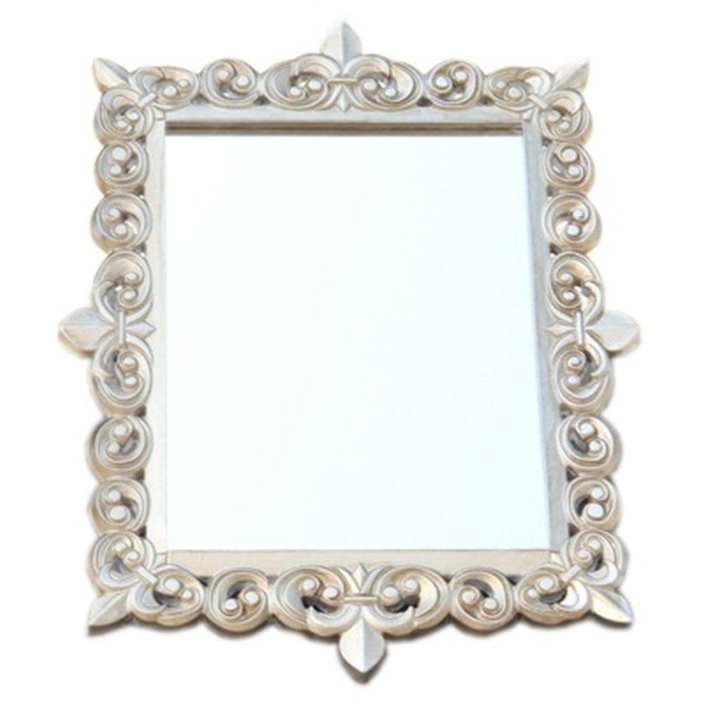 Зеркало настенное 63х47см, в багете ХДФ под серебро Р001