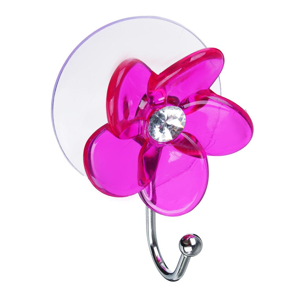 Держатель-крючок для полотенец Цветок, страза 1 присос., ПВХ, 5,5x7,5см, 5 цветов, 2031