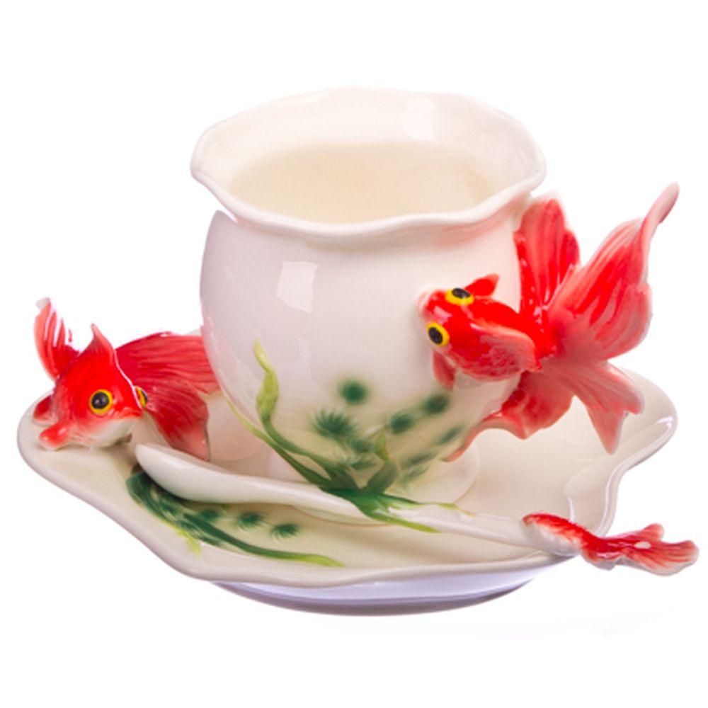 """Набор чайный 3 пр. (чашка 160мл, блюдце, ложка), фрф, """"Золотые рыбки"""""""