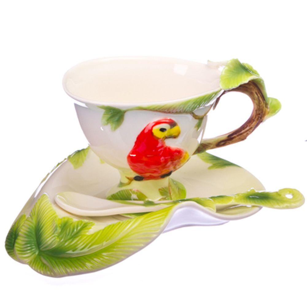 """Набор чайный 3 пр. (чашка 160мл, блюдце, ложка), фрф, """"Экзотический попугай"""""""