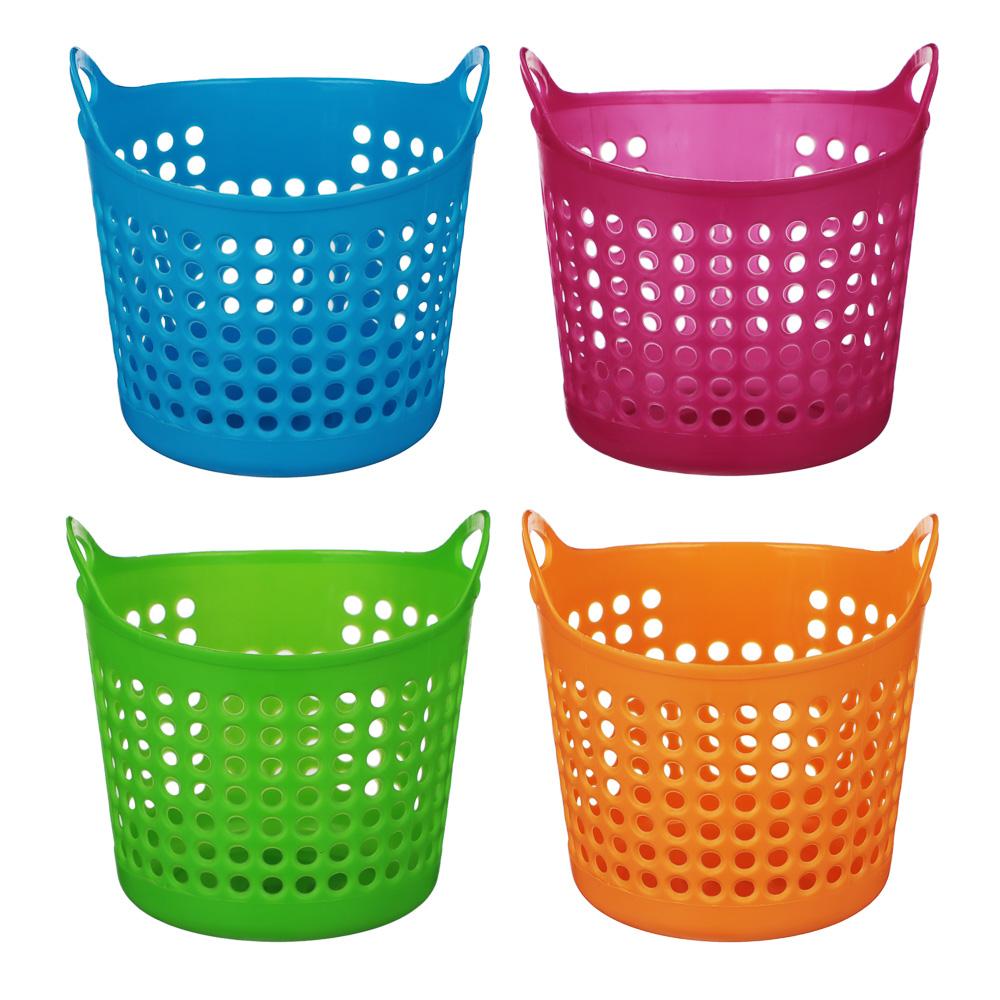 """Блок для хранения мелочей, пластик, 10,5x10,5 см, 4 цвета, """"Корзина с ручками"""""""