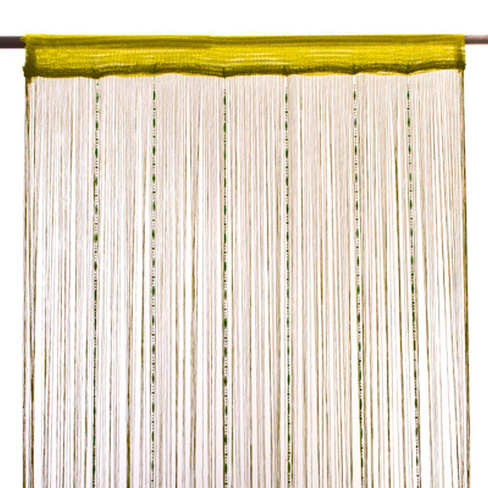 Занавеска нитяная 1x2м, с пластиковым декором, фисташковая