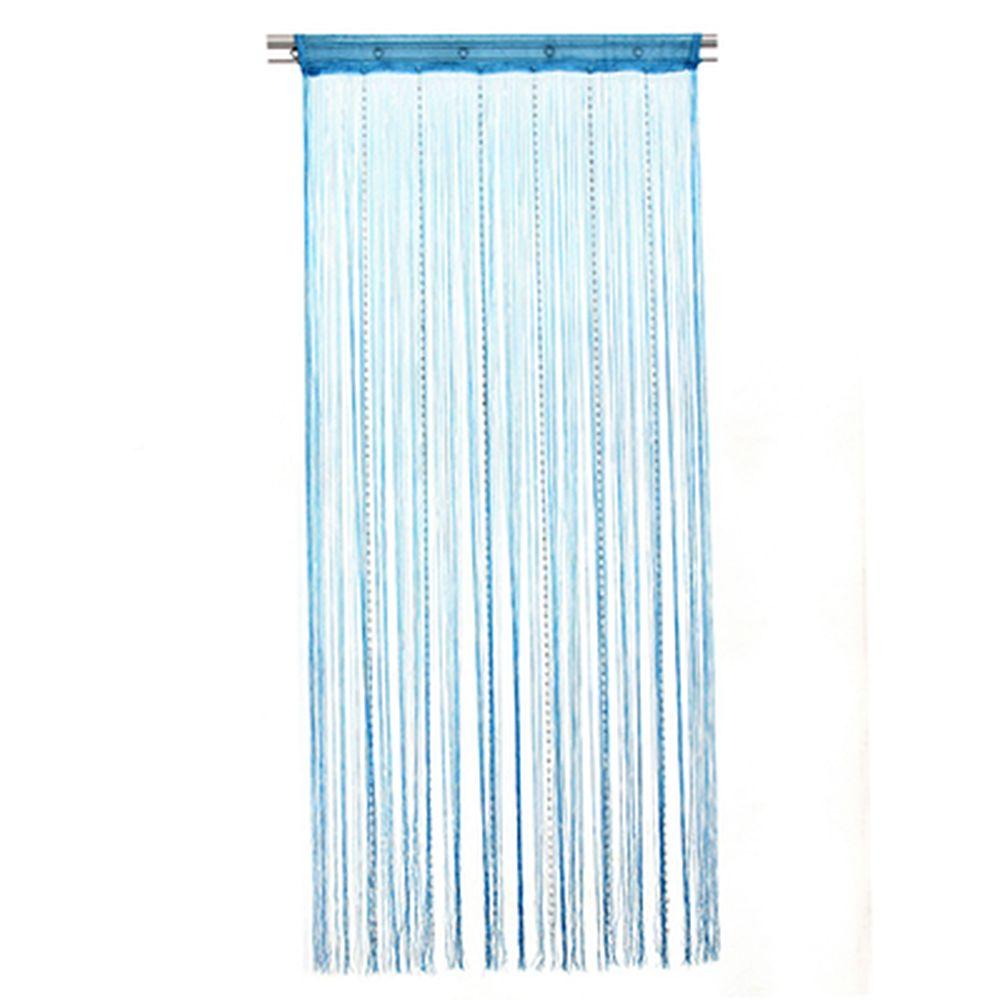 Занавеска нитяная 1x2м, с пластиковым декором, голубая