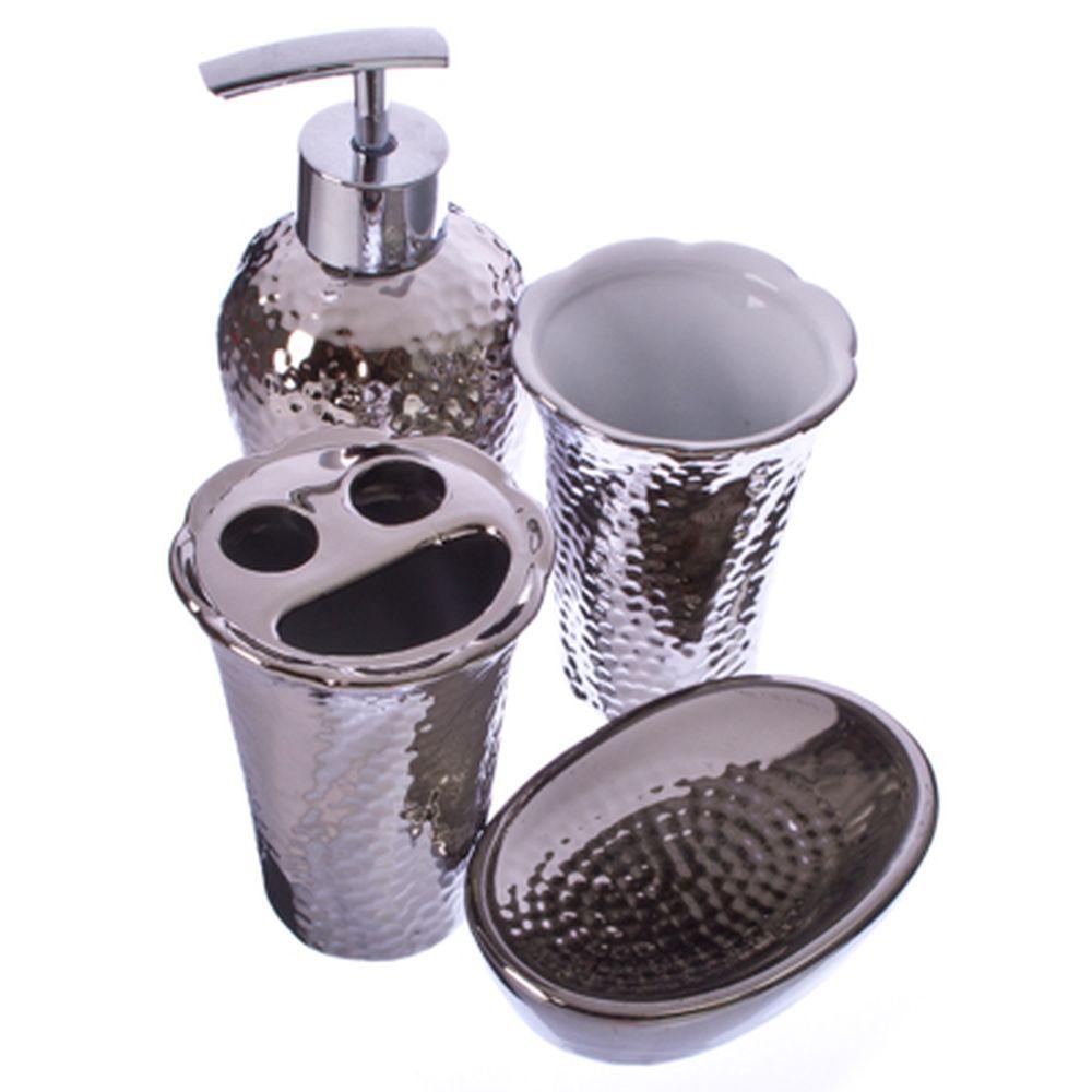 """Набор для ванной 4 предмета, керамика, серебряное покрытие, """"Оригинальный"""""""