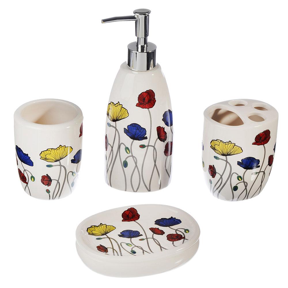 """Набор для ванной 4 предмета, керамика, """"Маки"""""""