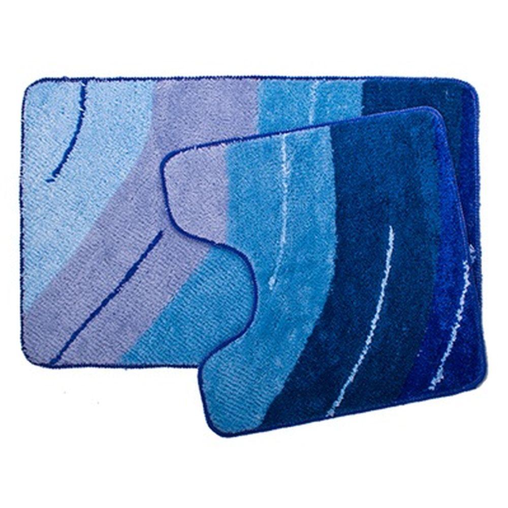 """VETTA Набор ковриков 2шт для ванной и туалета, акрил, 50x80см + 50x50см, """"Графика"""", синий"""