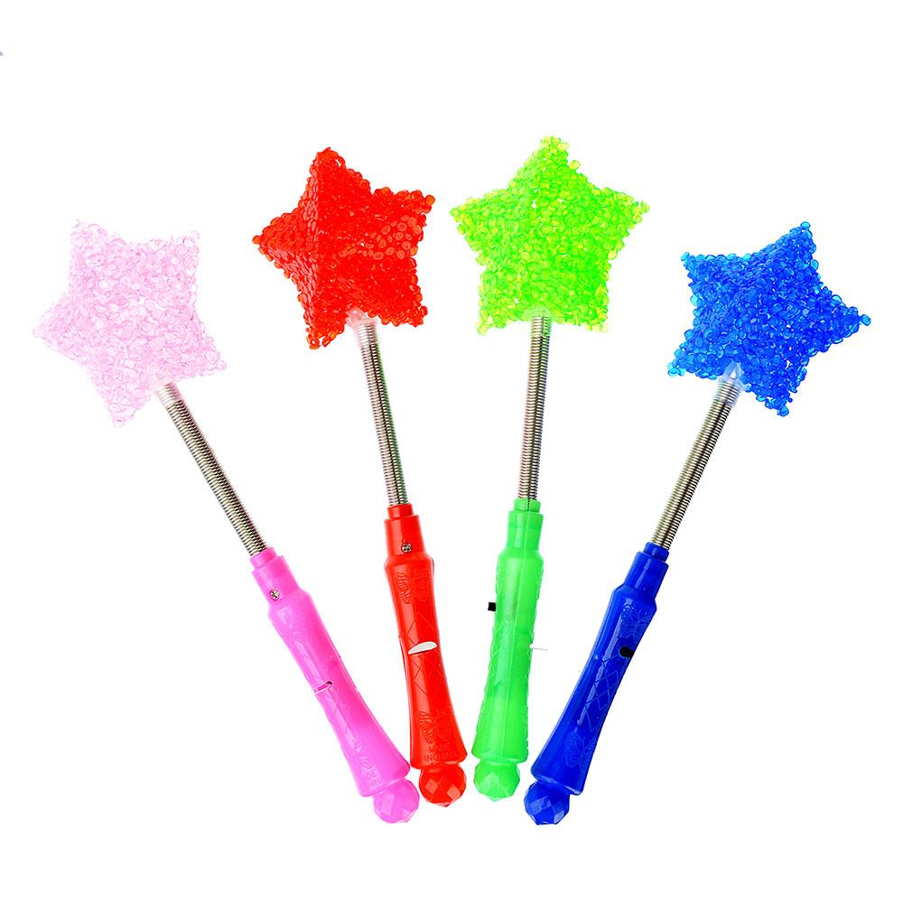 Палочка световая в форме звезды, пластик, 24см, 4 цвета