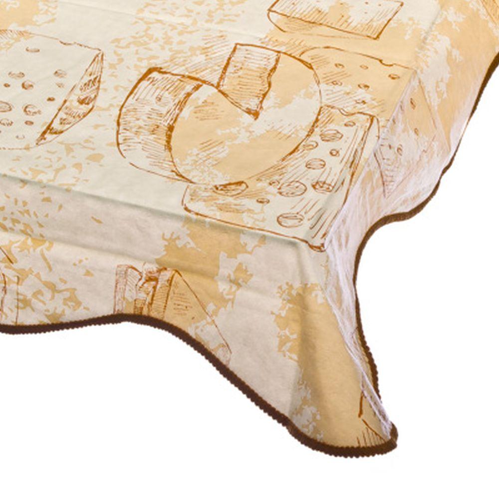 VETTA Скатерть виниловая на фланелевой основе с каймой, 137x137см, Cheese Арт 0306-1, Дизайн GC