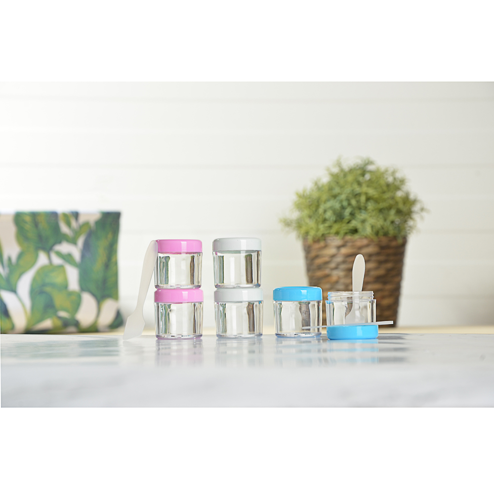 ЮниLook Набор для крема 3 пр. (контейнер 20мл -2шт, ложечка), пластик, 3-4 цвета, МС-01
