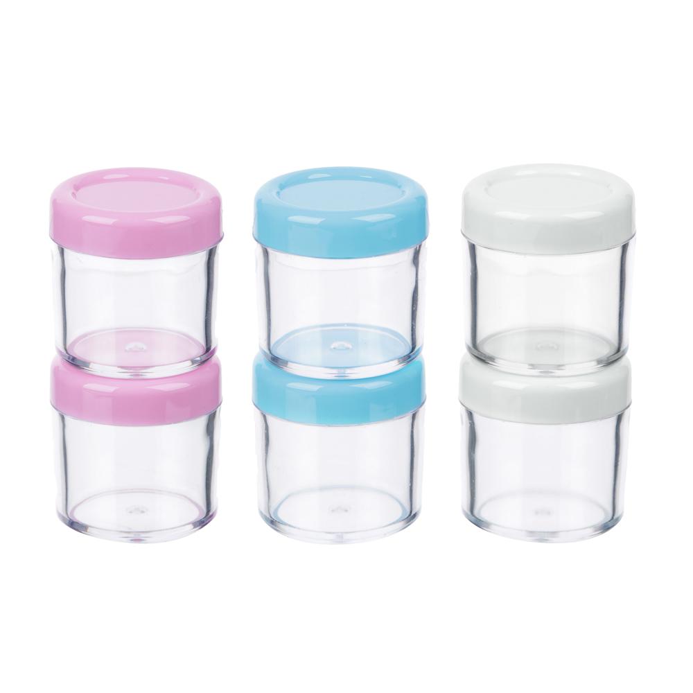 Набор для крема 3 пр. (контейнер 20мл -2шт, ложечка), пластик, 3 цвета, МС-01