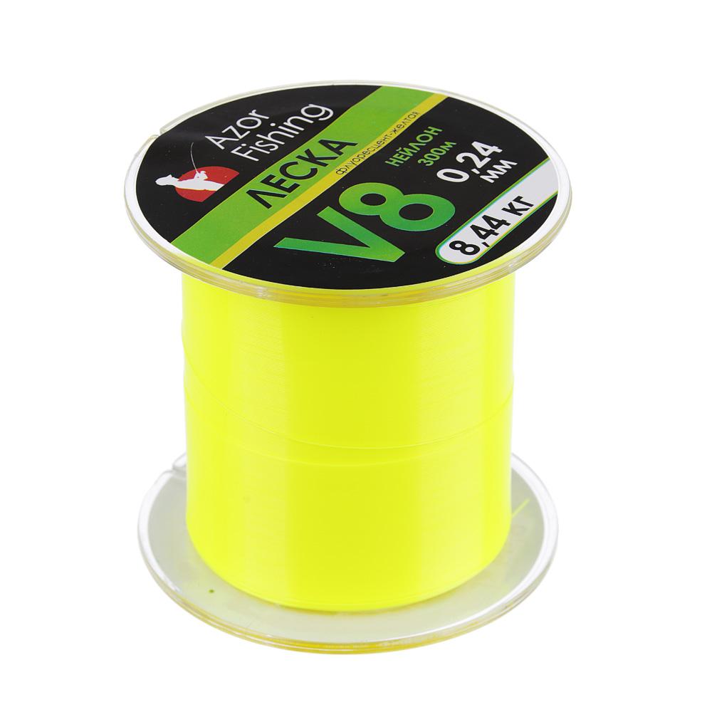 Леска нейлон, V8, 0,24 мм, 300м, флуорисцент-желтая, разрывная нагрузка 8,44 кг