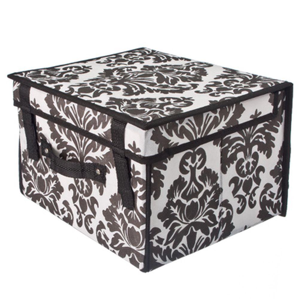 Орнамент Кофр-короб складной, жесткий с крышкой и ручкой, 30x27x20см, флизелин