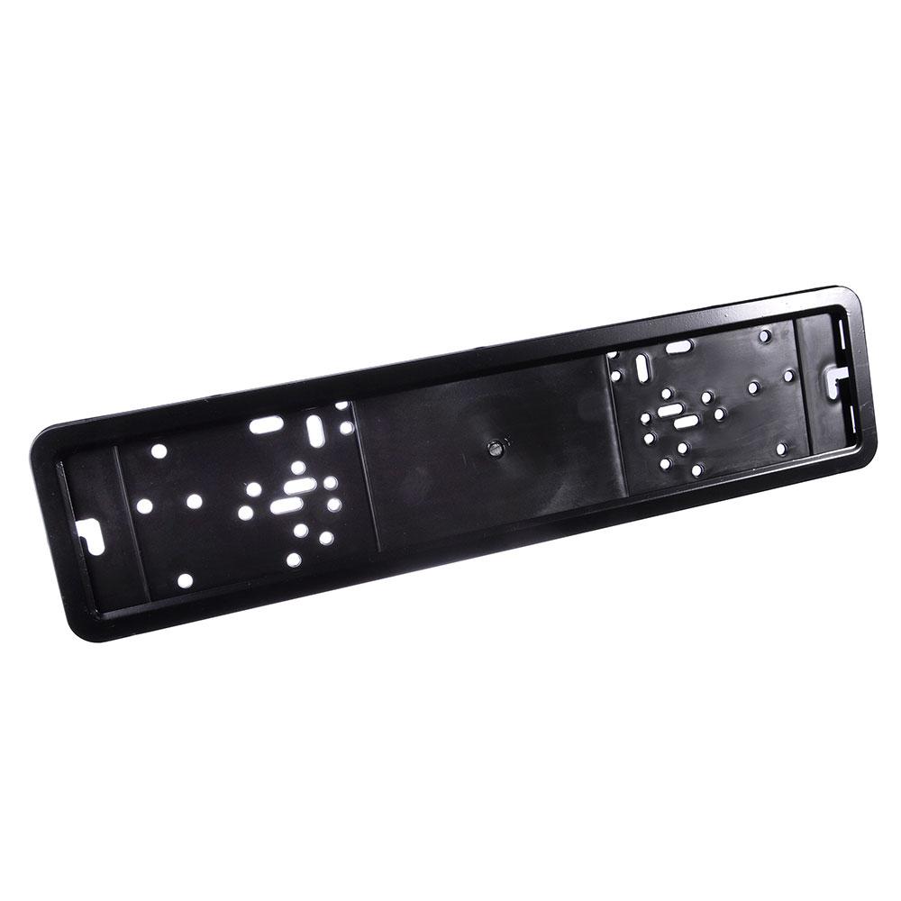 Держатель номера пластик+нерж.сталь, черная рамка (1 шт)