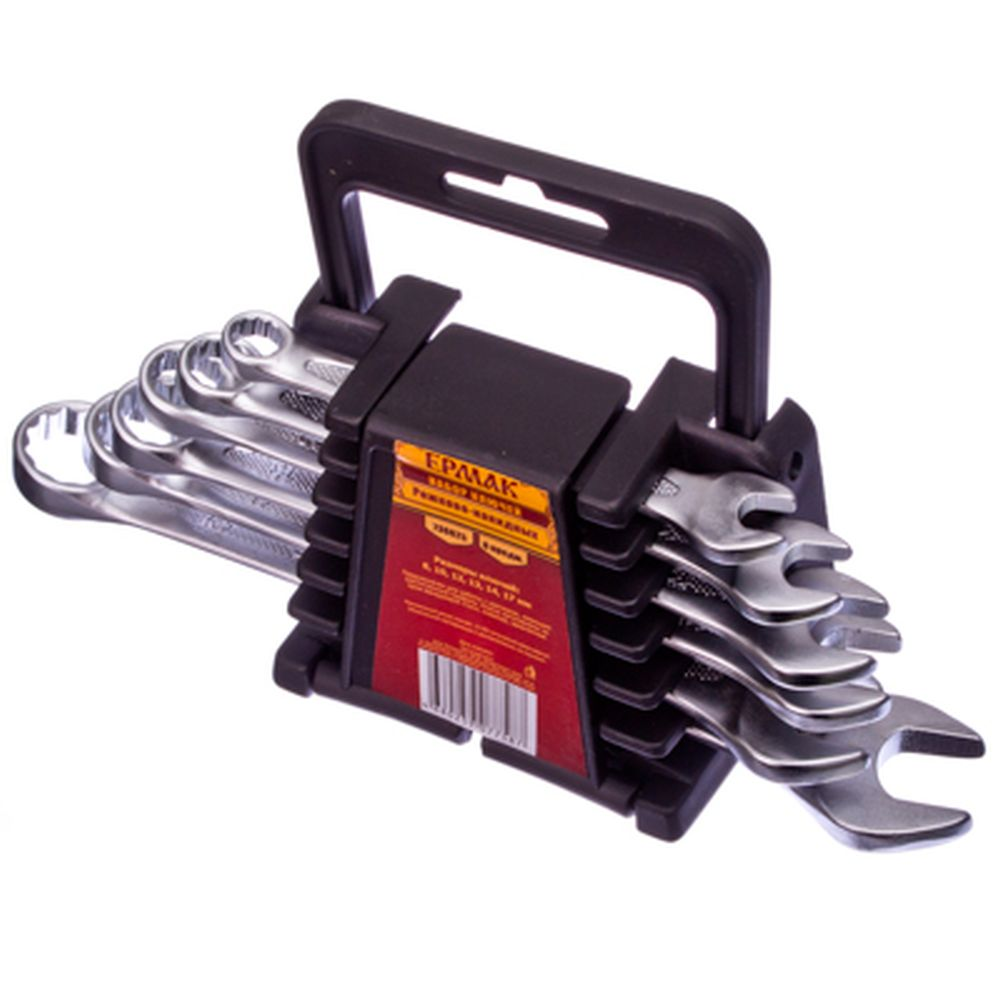 ЕРМАК Набор ключей рожк-нак., 6пр. евро холдер, мат. CRV ребристая панель холодный штамп 8-17мм