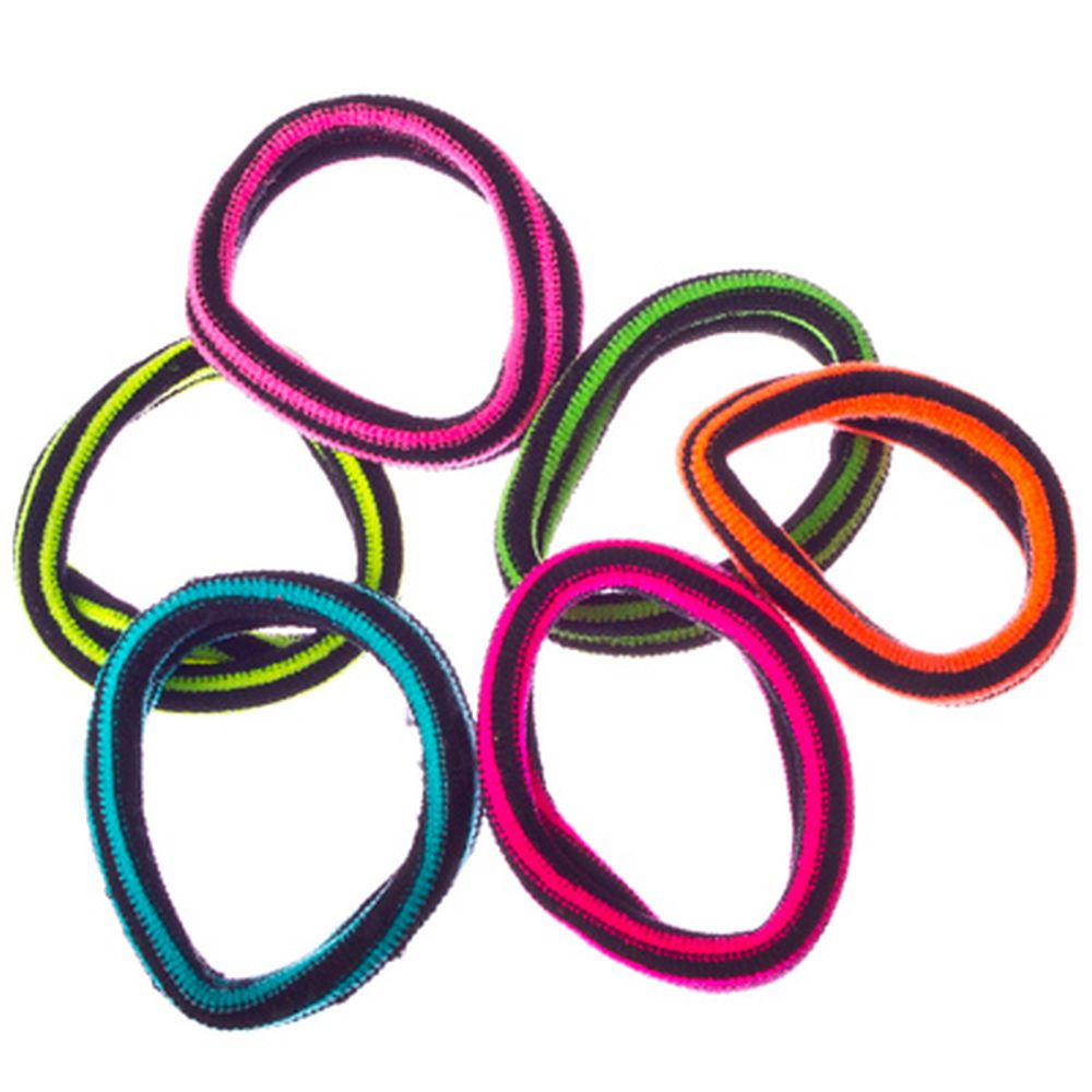 Набор резинок для волос в полоску 6шт., текстиль, 4 см, 6 цветов