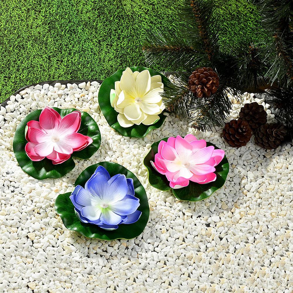 Лилия декоративная с подсветкой для пруда,батарея CR 2032 3V, полиэстер, 17см, 12 цветов
