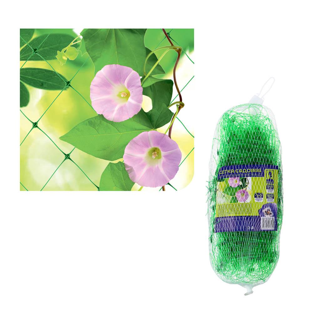 INBLOOM Сетка садовая для вьющихся растений 2х10м, пластик, зел., размер ячейки 15х15см   30х12х12