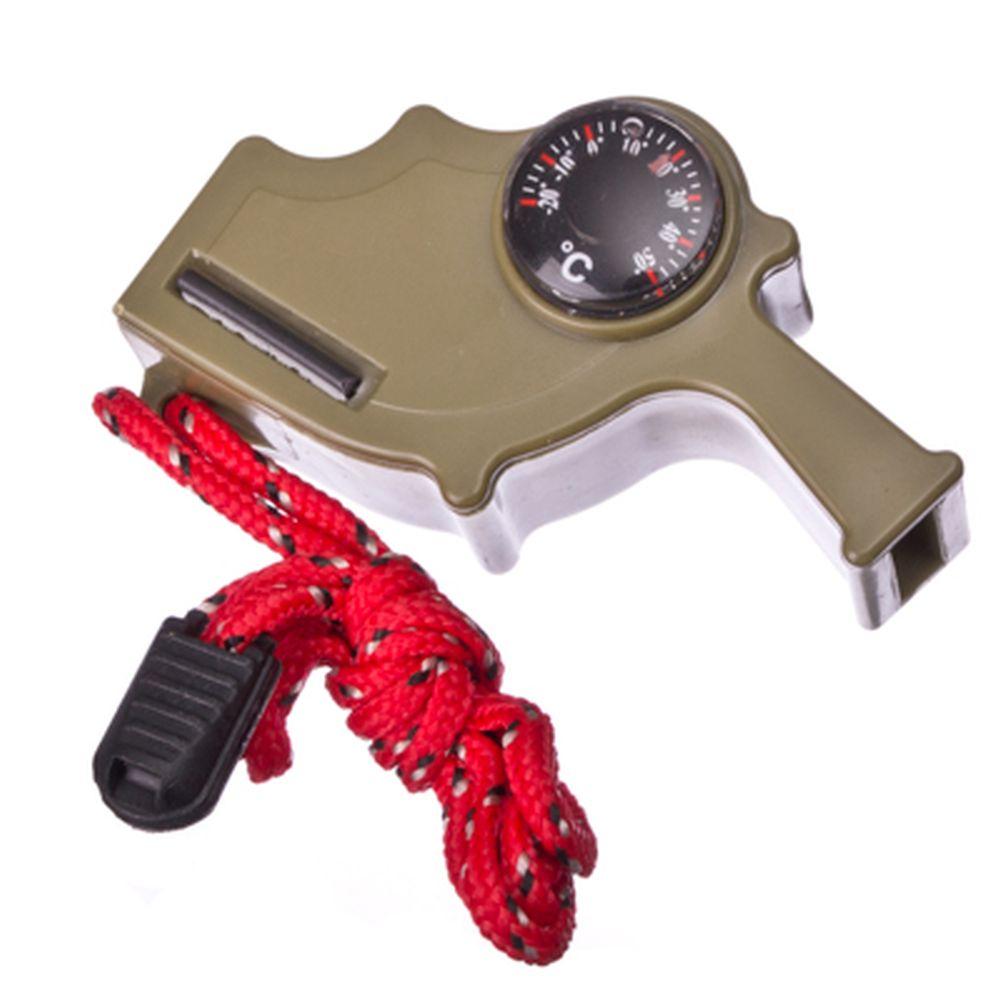 Прибор многофункциональный (термометр + компас + огниво) пластик, 7,5х3,7см, микс