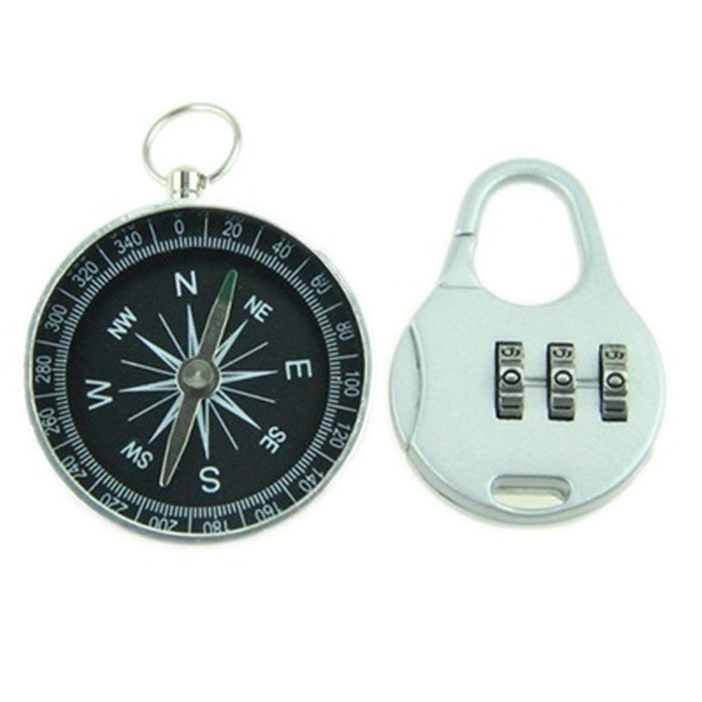 Набор туристический 2 пр. (компас d4,5см, замок кодовый 5x3,5см) металл, пластик