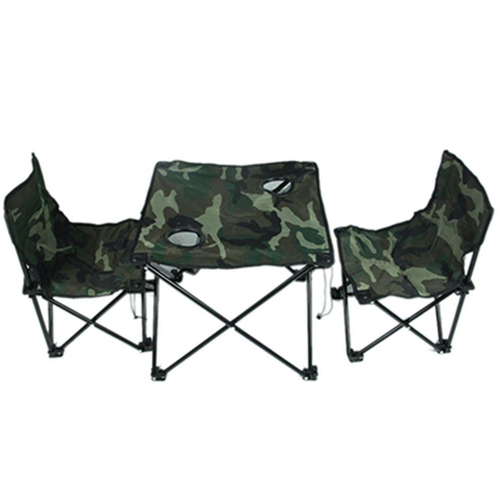 "Комплект мебели для кемпинга ""Камуфляж"" (стол 45х45х40см, стул 32х32х48см, 2шт, макс.нагрузка 110кг)"