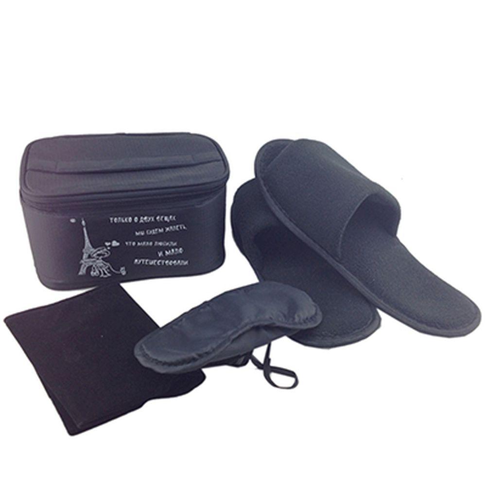 Набор дорожный 4 пр. (тапочки, маска для сна, подушка дорожная) в сумке 18x12x9см