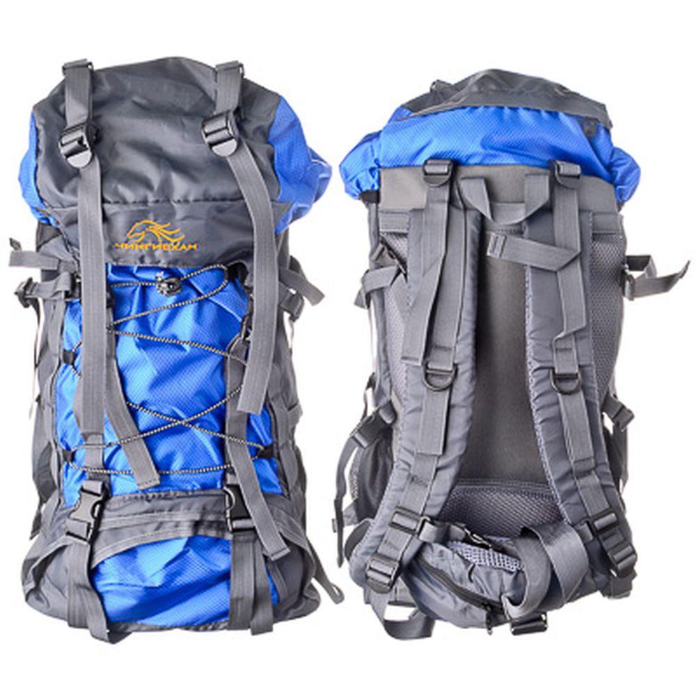 ЧИНГИСХАН Рюкзак туристический 55л, с мягкой спинкой, полиэстер 600D, серо-синий