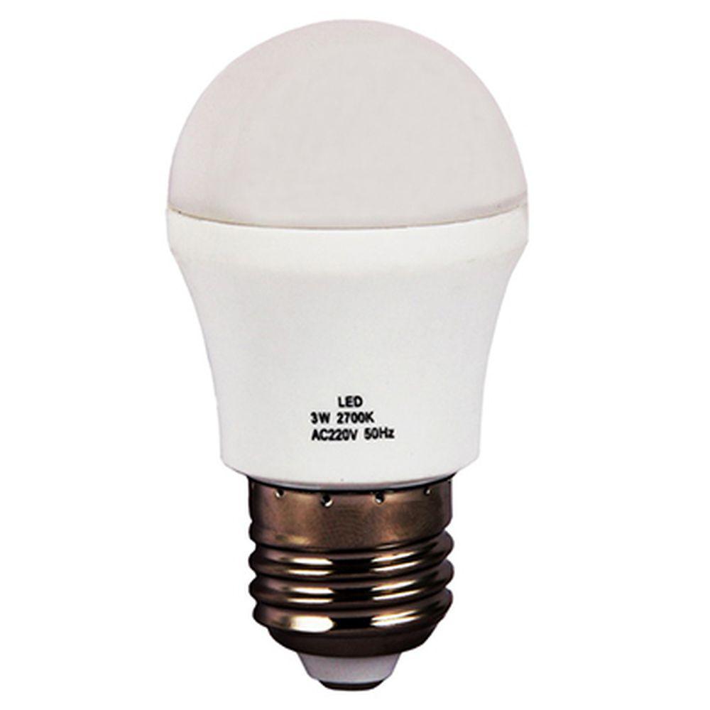 "Лампа LED 2700К ""тёплый"" солнечный свет, E27, пластиковый корпус, 3W, 220V"