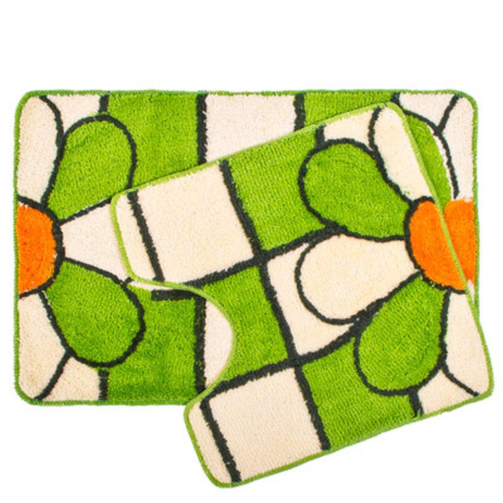 """VETTA Набор ковриков 2шт для ванной и туалета, акрил, 60x90см + 60x60см, """"Flower"""" Дизайн GC"""