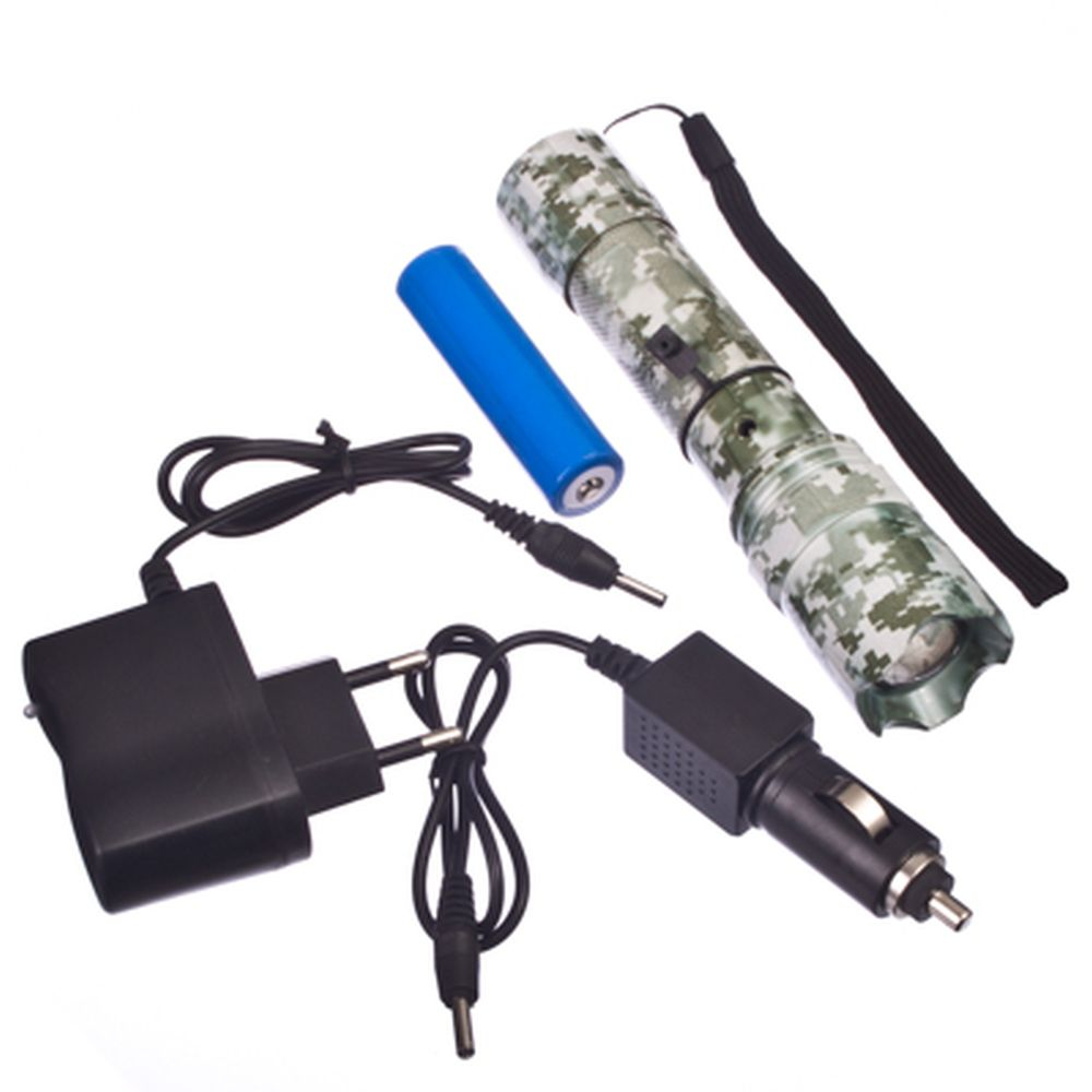 Фонарик металл со светодиодами 1 LED 5W зум 300м. с з/у(220V/12V) и АКБ/3хААА 15х3,5см хаки