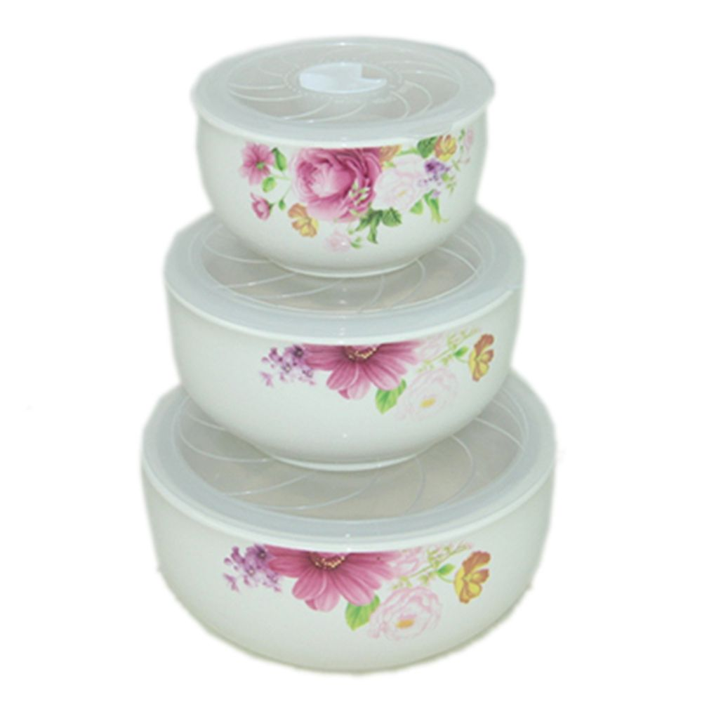 """Набор салатников 3шт керамика, с пластиковой крышкой (250мл, 400мл, 550мл) """"Трио-5"""""""