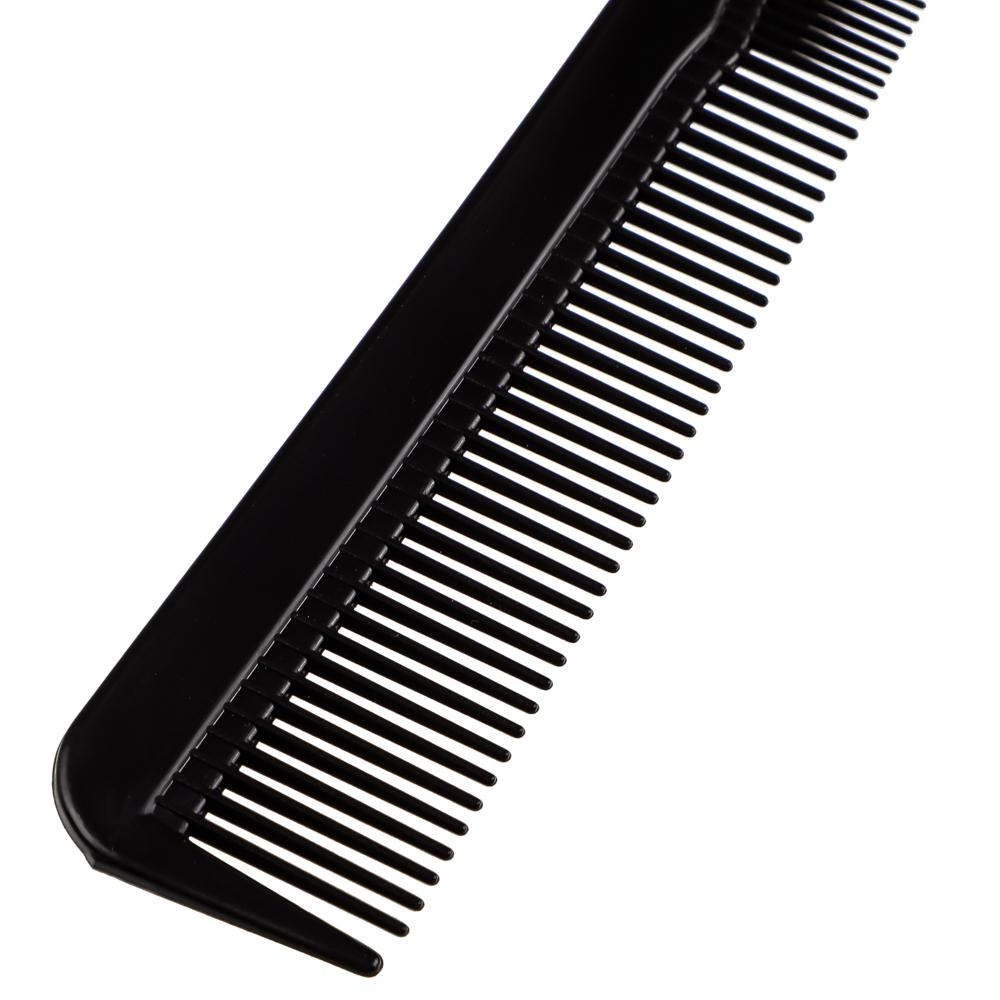 Расческа-гребень карбоновая, эффект антистатик, 18x2,5 см, черная